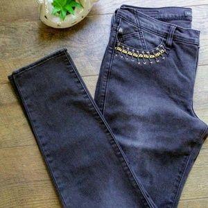 Rock & Republic Black Skinny Gold Chain Jeans